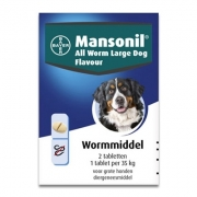 Mansonil All Worm Grote Hond Flavour | 2 tabletten